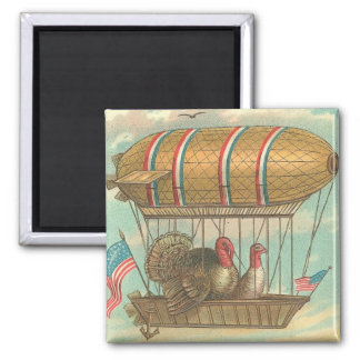 Thanksgiving Turkeys in a Blimp 2 Inch Square Magnet