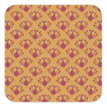 Thanksgiving Turkeys Pattern Square Sticker