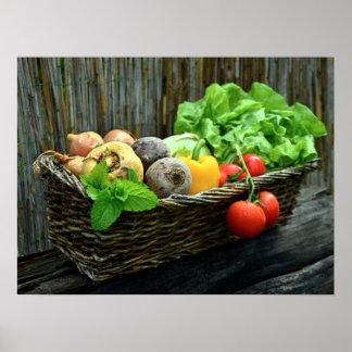 Thanksgiving Vegetable Harvest in a Basket Poster