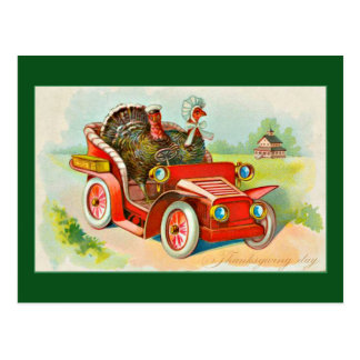 thanksgiving-vintage-2-turkeys-driving-old-car postcard