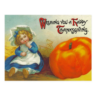 Thanksgiving vintage girl with pumpkin postcard