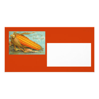 Thanksgiving Vintage Photocard Personalized Photo Card