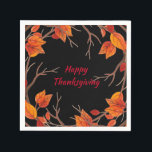 "Thanksgiving Watercolor Fall Leaves Napkin<br><div class=""desc"">This design features gorgeous watercolor fall leaves in orange hues on a black background. Happy Thanksgiving is written is popular typographic text in red and is editable. Edit the text in the text boxes to personalize. View the coordinating products in our store.</div>"