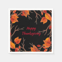 Thanksgiving Watercolor Fall Leaves Napkin