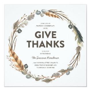 Thanksgiving Watercolor Wreath Dinner Invitation at Zazzle