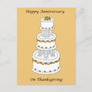 Thanksgiving Wedding Anniversary Holiday Postcard