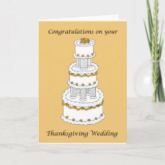 Thanksgiving Wedding Congratulations Holiday Card
