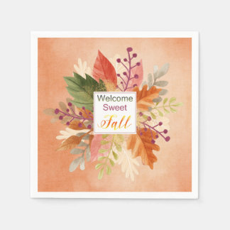 """Thanksgiving - """"Welcome Sweet Fall"""" - Watercolors Paper Napkin"""