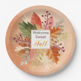 """Thanksgiving - """"Welcome Sweet Fall"""" - Watercolors Paper Plate"""