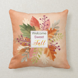"""Thanksgiving - """"Welcome Sweet Fall"""" - Watercolors Throw Pillow"""