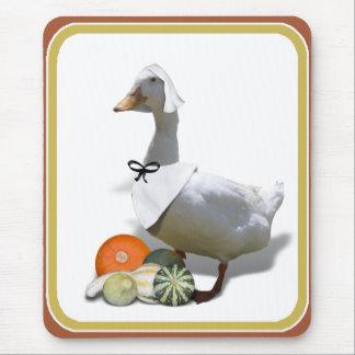 Thanksgiving White Duck Pilgrim Girl Mouse Pads