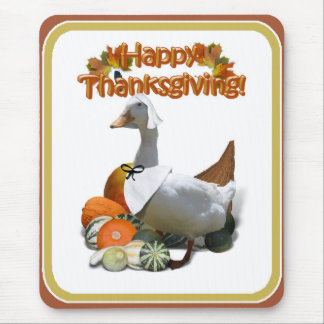 Thanksgiving White Duck Pilgrim Girl Mouse Pad