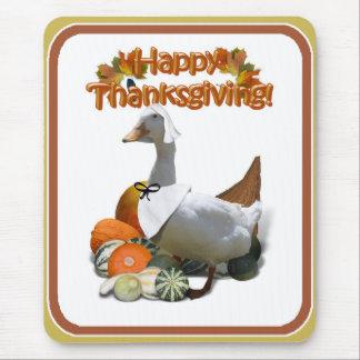 Thanksgiving White Duck Pilgrim Girl Mousepads
