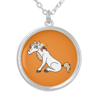Thanksgiving White Horse with Turkey Feathers Round Pendant Necklace