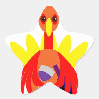 Thanksgiving Wine Drinking Turkey Star Sticker