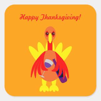 Thanksgiving Wine Drinking Turkey Stickers
