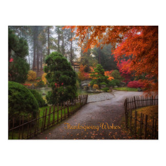 Thanksgiving Wishes Autumn Leaves Postcard