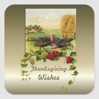 Thanksgiving Wishes Square Sticker