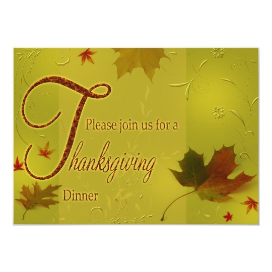 Thanksgiving Wishes Typography Leaves - Invitation