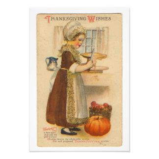 Thanksgiving Wishes Vintage Photo Print