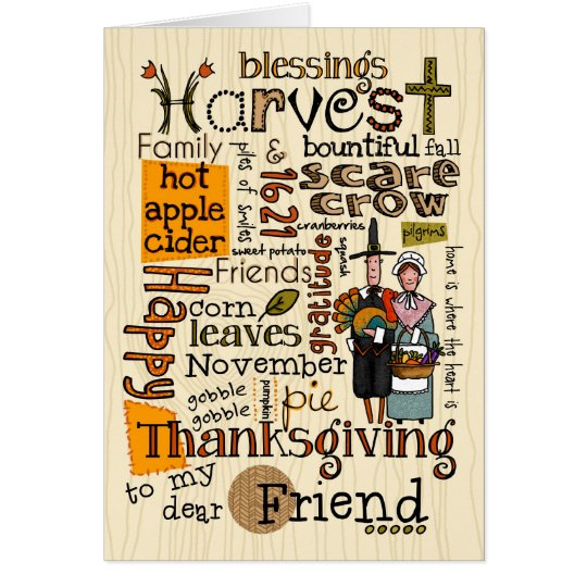 Thanksgiving Wordcloud - Friend Card