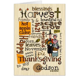 Thanksgiving Wordcloud - Godson Greeting Card