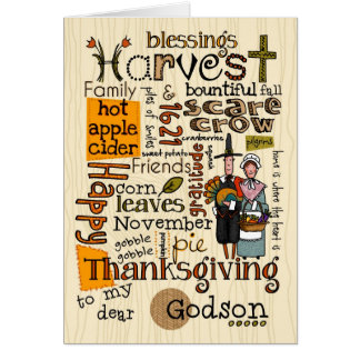 Thanksgiving Wordcloud - Godson Greeting Card
