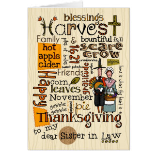 Thanksgiving Wordcloud - Sister in Law Card