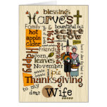 Thanksgiving Wordcloud - Wife Greeting Card