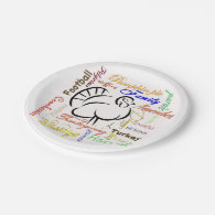 Thanksgiving words collage 7 inch paper plate