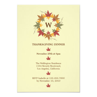 Thanksgiving Wreath Dinner Party Invitation