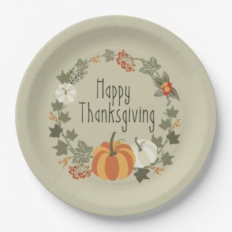 Thanksgiving Wreath with Pumpkin Paper Plate