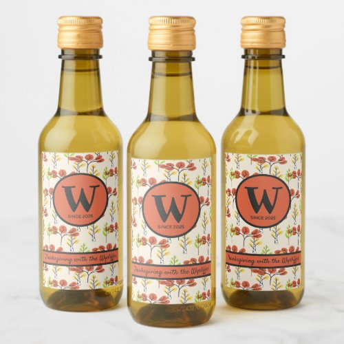 Thanksgiving Your Family Name Fall Trees Woodland Wine Label