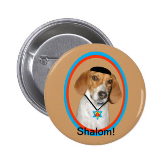 Thanksgivukkah Button Funny Hound Dog with Yamaka