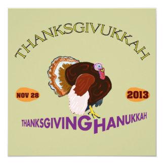 """Thanksgivukkah feliz, acción de gracias y Jánuca Invitación 5.25"""" X 5.25"""""""