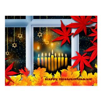 Thanksgivukkah feliz. Jánuca y acción de gracias Tarjeta Postal