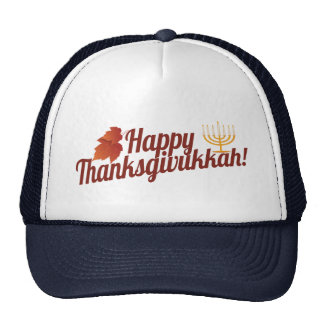 Thanksgivukkah feliz Menorah/hoja Gorras De Camionero