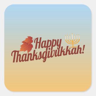 Thanksgivukkah feliz Menorah/hoja Calcomanía Cuadrada Personalizada