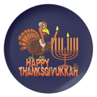 Thanksgivukkah feliz Turquía y placas de Menorah Plato De Comida