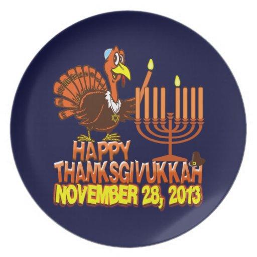 Thanksgivukkah feliz Turquía y placas de Menorah Plato Para Fiesta