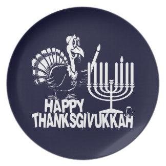 Thanksgivukkah feliz Turquía y placas de Menorah Platos
