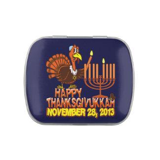 Thanksgivukkah feliz Turquía y recuerdo de Menorah Latas De Caramelos