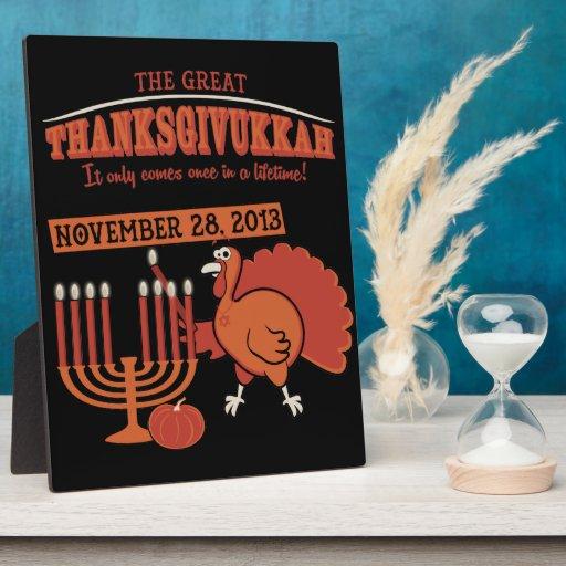 Thanksgivukkah festivo placa de plastico