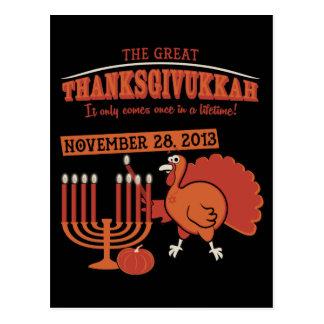 Thanksgivukkah festivo tarjetas postales