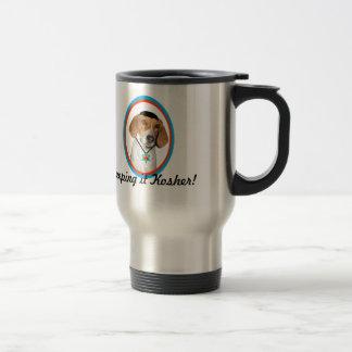 Thanksgivukkah Funny Hound Dog w Yamaka Travel Mug