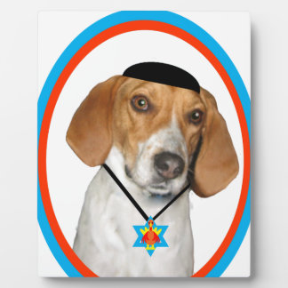 Thanksgivukkah Funny Hound Dog with Yamaka Display Plaque