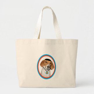 Thanksgivukkah Funny Hound Dog with Yamaka Large Tote Bag