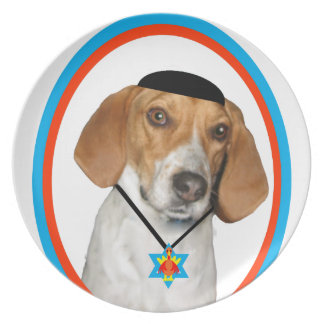 Thanksgivukkah Funny Hound Dog with Yamaka Melamine Plate