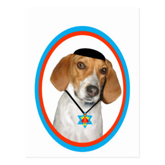 Thanksgivukkah Funny Hound Dog with Yamaka Postcard
