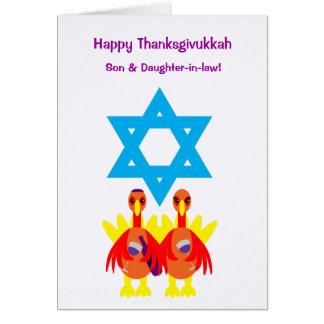 Thanksgivukkah Funny Turkeys Wine Greeting Card